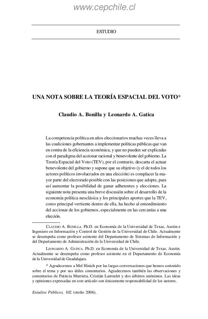 www.cepchile.cl                                       ESTUDIOUNA NOTA SOBRE LA TEORÍA ESPACIAL DEL VOTO*               Cla...