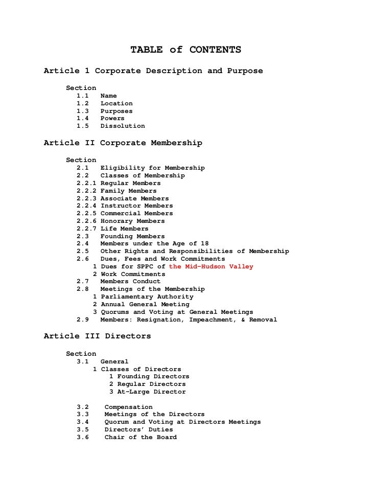 TABLE of CONTENTS Article 1 Corporate Description and Purpose     Section       1.1     Name       1.2     Location       ...