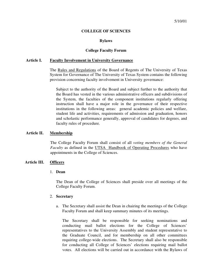 5/10/01                                 COLLEGE OF SCIENCES                                            Bylaws             ...