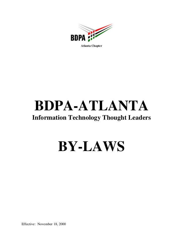 Atlanta Chapter        BDPA-ATLANTA      Information Technology Thought Leaders                      BY-LAWSEffective: Nov...