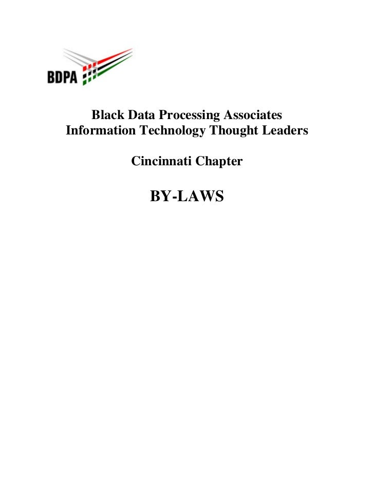 Black Data Processing AssociatesInformation Technology Thought Leaders          Cincinnati Chapter             BY-LAWS
