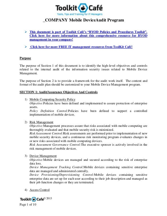 """_COMPANY Mobile DeviceAudit Program© 2013Page 1 of 10 This document is part of Toolkit Café's """"BYOD Policies and Procedur..."""