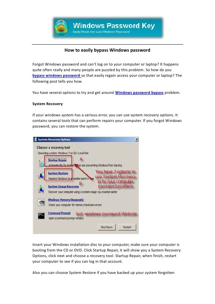 How to easily bypass Windows password<br />Forgot Windows password and can't log on to your computer or laptop? It happens...