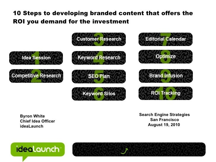 10 Steps to developing branded content that offers the ROI you demand for the investment Byron White Chief Idea Officer id...