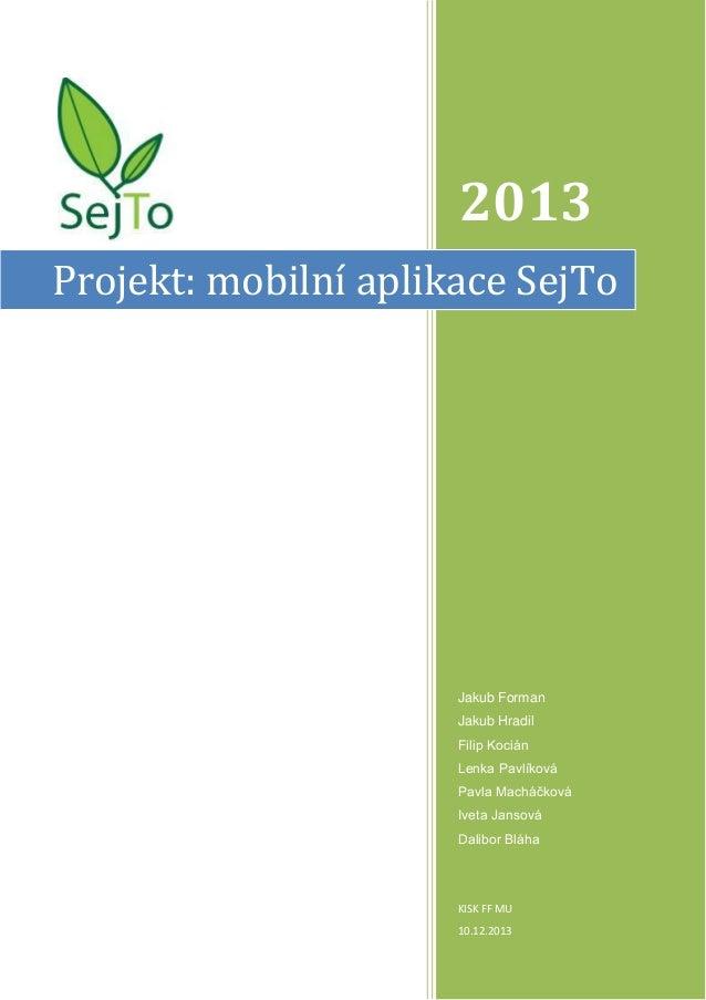 Byznys plán SejTo - mobilní aplikace