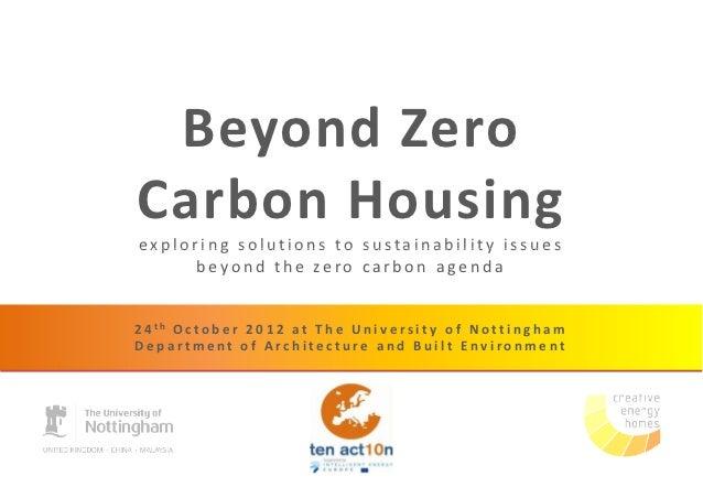 Beyond Zero Carbon Housing - Julian Marsh