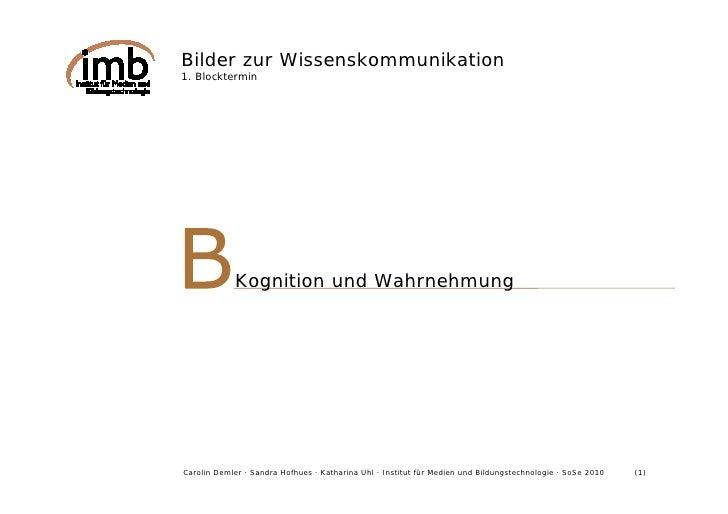 Bilder zur Wissenskommunikation 1. Blocktermin                 Kognition und Wahrnehmung     Carolin Demler · Sandra Hofhu...