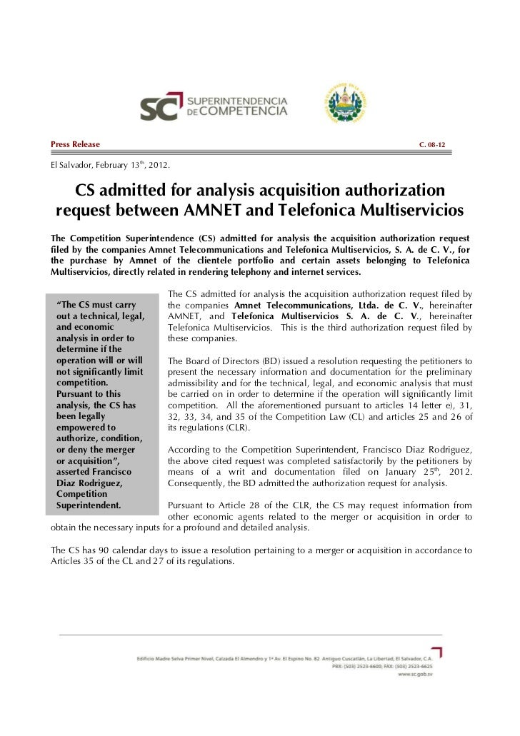 C.08-12 CS admitted for analysis acquisition authorization request between AMNET and Telefonica Multiservicios