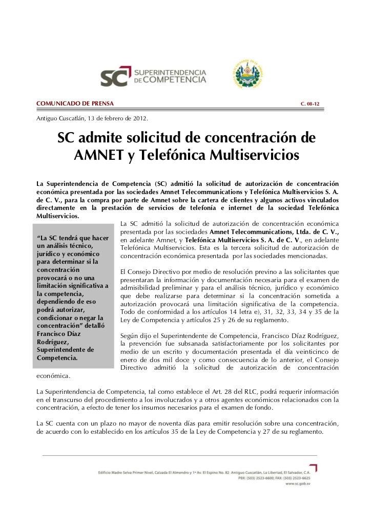 C.08-12 SC admite solicitud de concentración de AMNET y Telefónica Multiservicios