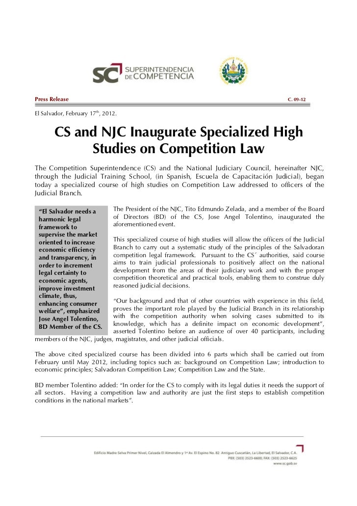 C.09-12 CS and NJC Inaugurate Specialized High Studies on Competition Law