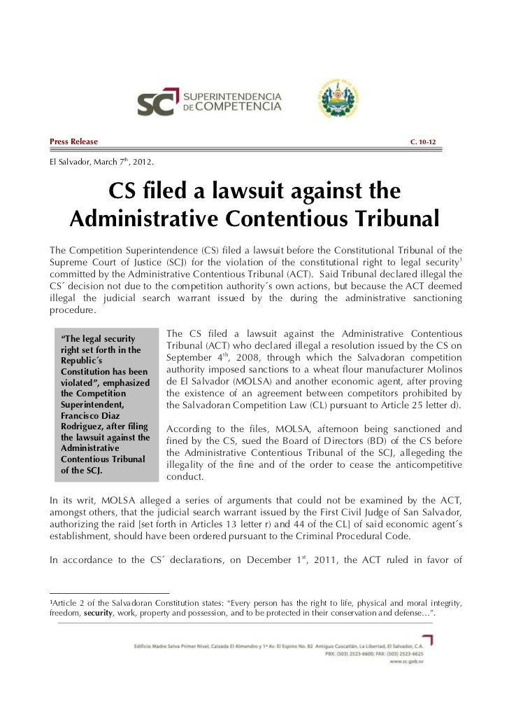C.10-12 CS filed a lawsuit against the Administrative Contentious Tribunal