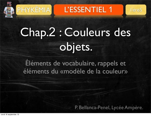 PHYKÊMIA  L'ESSENTIEL 1 PRÉALABLES  1èreS  Chap.2 : Couleurs des objets. Éléments de vocabulaire, rappels et éléments du «...