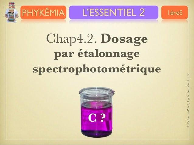 PHYKÊMIA  L'ESSENTIEL 2  1èreS  par étalonnage spectrophotométrique  C?  P. Bellanca-Penel, Lycée Ampère, Lyon  Chap4.2. D...