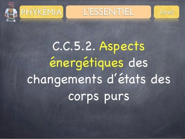 PHYKÊMIA  L'ESSENTIEL  1èreS  C.C.5.2. Aspects énergétiques des changements d'états des corps purs
