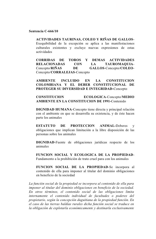 Sentencia 666-10 Corte Constitucional - Colombia