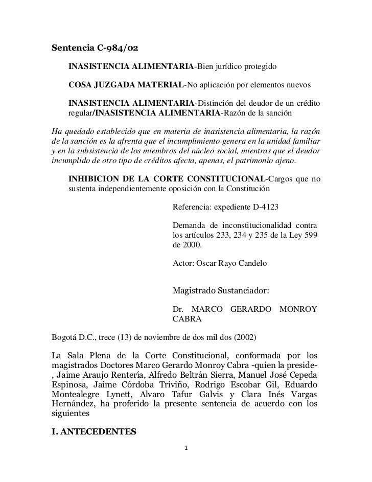 Sentencia C-984/02    INASISTENCIA ALIMENTARIA-Bien jurídico protegido    COSA JUZGADA MATERIAL-No aplicación por elemento...