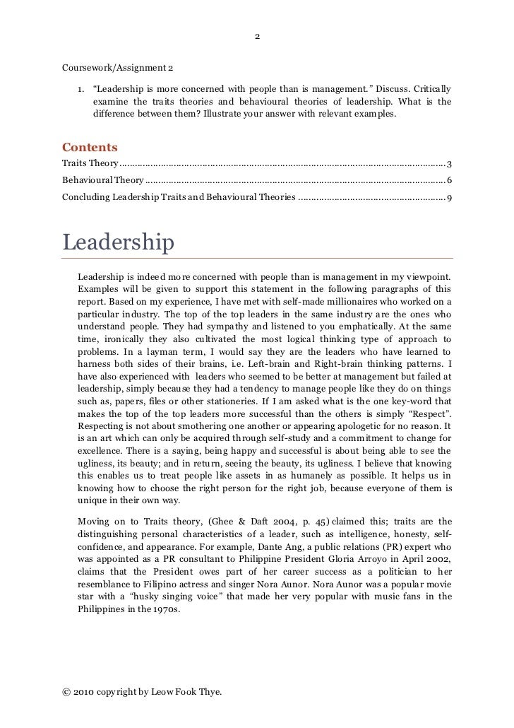 An essay about leadership
