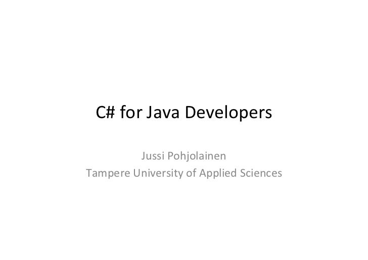 C# for Java Developers