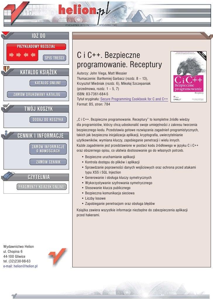 IDZ DO          PRZYK£ADOWY ROZDZIA£                             SPIS TRE CI   C i C++. Bezpieczne                        ...
