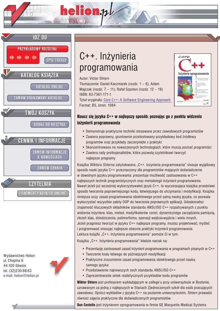 C++. Inżynieria programowania