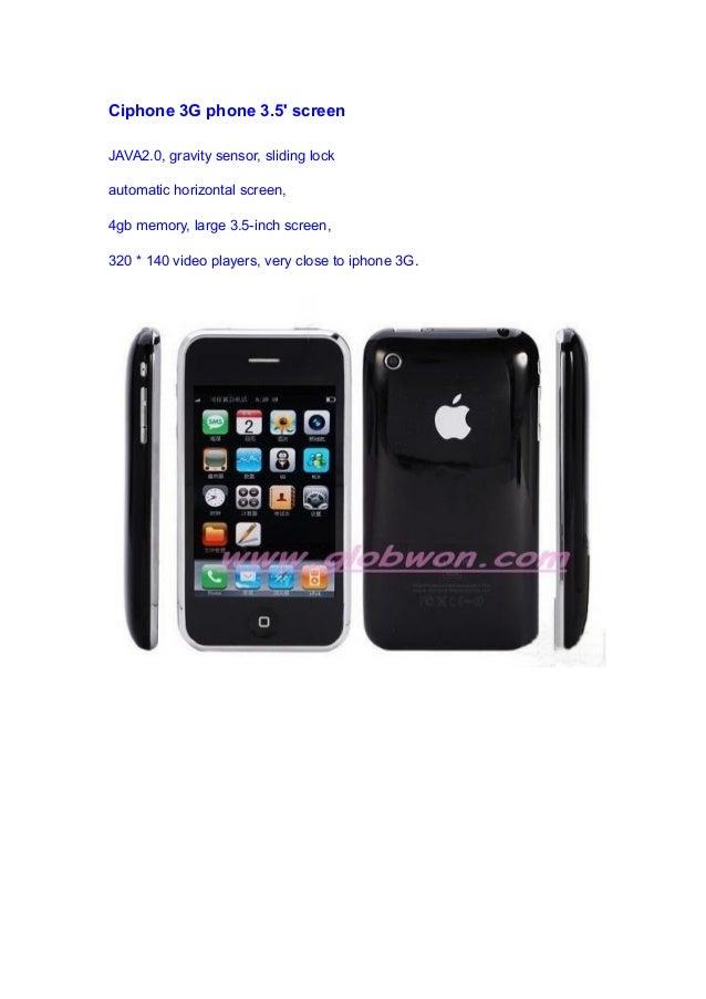 Ciphone 3G phone 3.5' screen JAVA2.0, gravity sensor, sliding lock automatic horizontal screen, 4gb memory, large 3.5-inch...