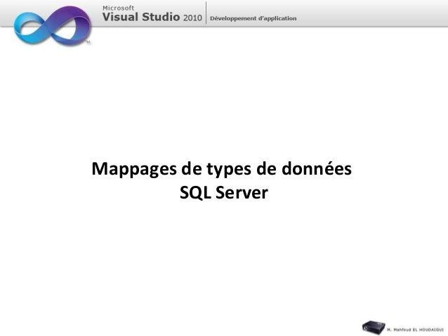 Mappages de types de données SQL Server