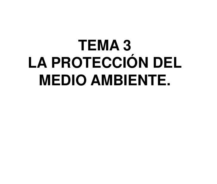 TEMA 3<br />LA PROTECCIÓN DEL MEDIO AMBIENTE.<br />
