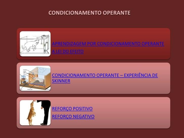 CONDICIONAMENTO OPERANTE APRENDIZAGEM POR CONDICIONAMENTO OPERANTE A LEI DO EFEITO CONDICIONAMENTO OPERANTE – EXPERIÊNCIA ...