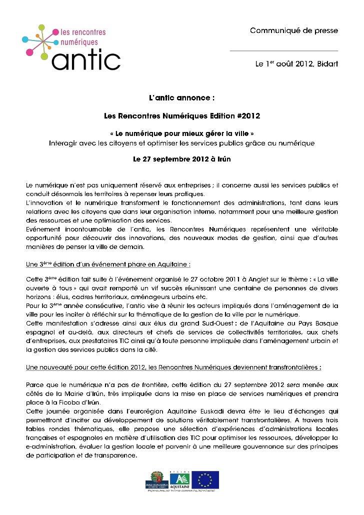 Communiqué de presse Les Rencontres Numériques Edition #2012