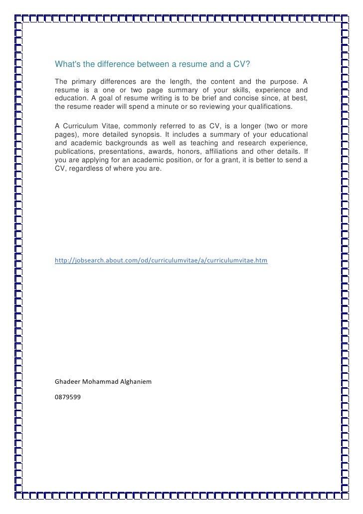 Cv V Resume - Apigram.Com