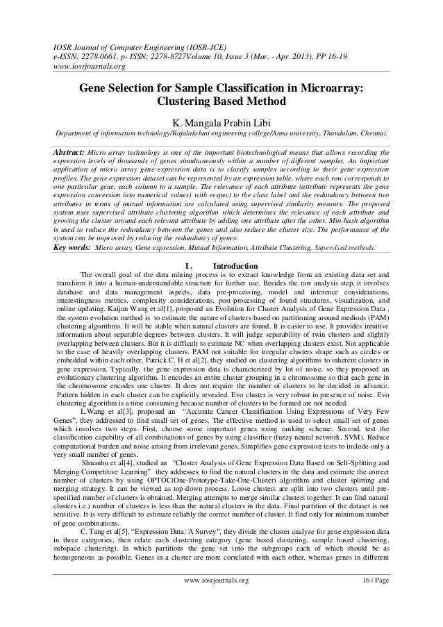 Gene Selection for Sample Classification in Microarray: Clustering Based Method