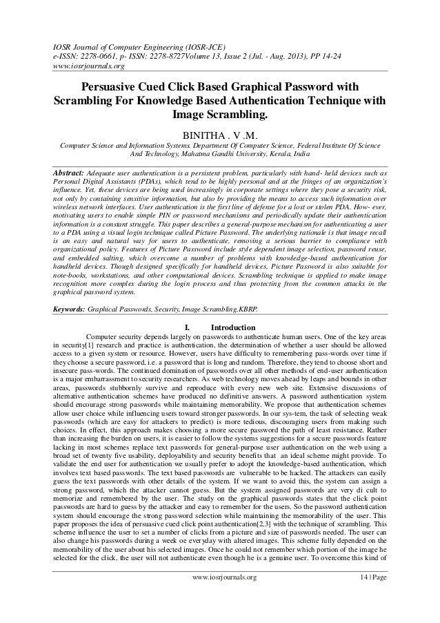 IOSR Journal of Computer Engineering (IOSR-JCE) e-ISSN: 2278-0661, p- ISSN: 2278-8727Volume 13, Issue 2 (Jul. - Aug. 2013)...