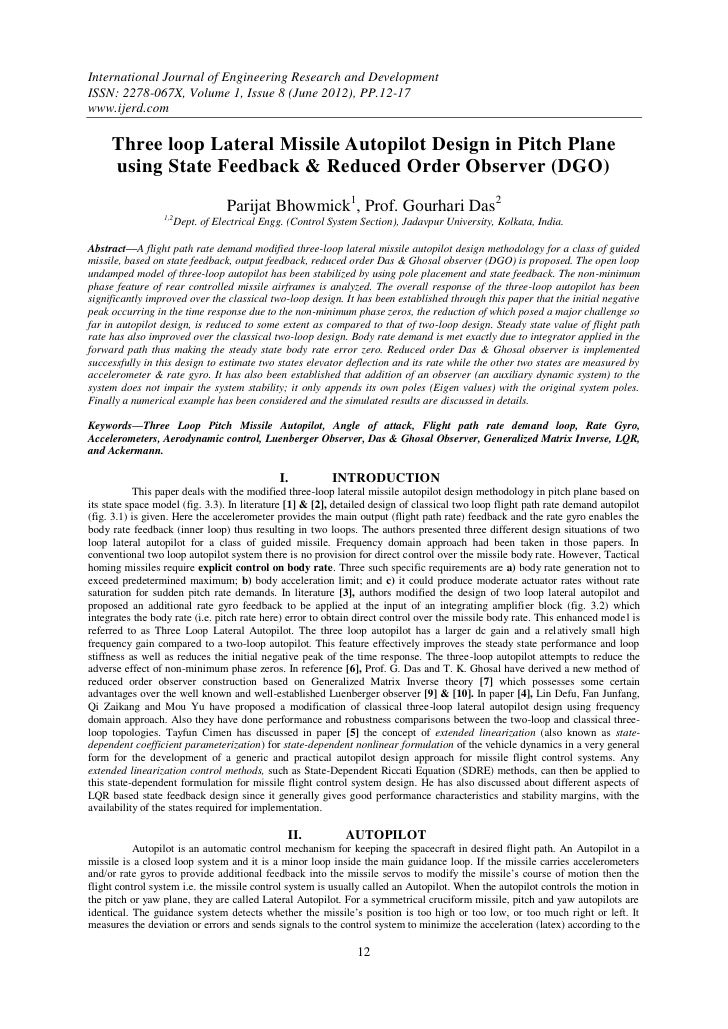 International Journal of Engineering Research and DevelopmentISSN: 2278-067X, Volume 1, Issue 8 (June 2012), PP.12-17www.i...