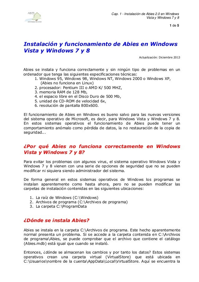Cap. 1 - Instalación de Abies 2.0 en Windows Vista y Windows 7 y 8 1 de 5  Instalación y funcionamiento de Abies en Window...