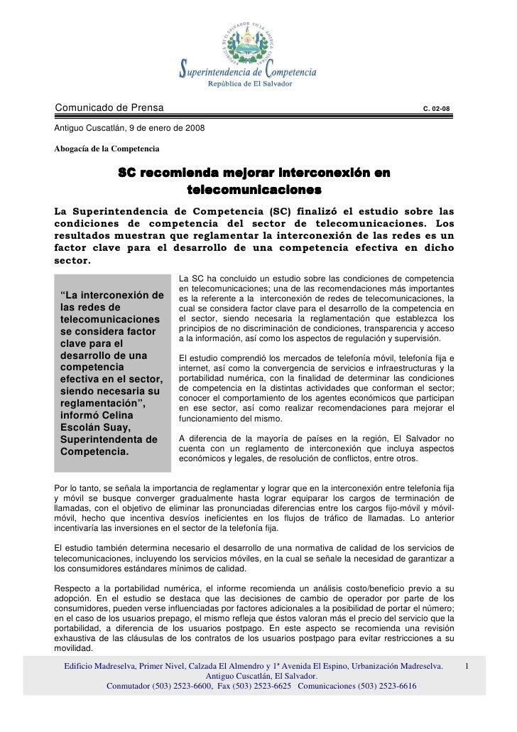 Comunicado de Prensa                                                                               C. 02-08  Antiguo Cusca...
