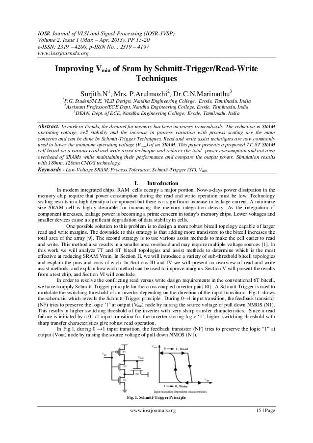 IOSR Journal of VLSI and Signal Processing (IOSR-JVSP)Volume 2, Issue 1 (Mar. – Apr. 2013), PP 15-20e-ISSN: 2319 – 4200, p...