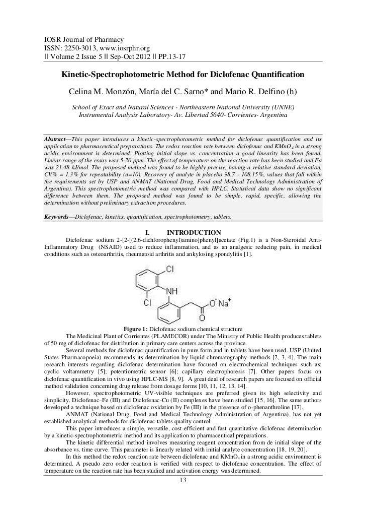 IOSR Journal of PharmacyISSN: 2250-3013, www.iosrphr.org‖‖ Volume 2 Issue 5 ‖‖ Sep-Oct 2012 ‖‖ PP.13-17      Kinetic-Spect...