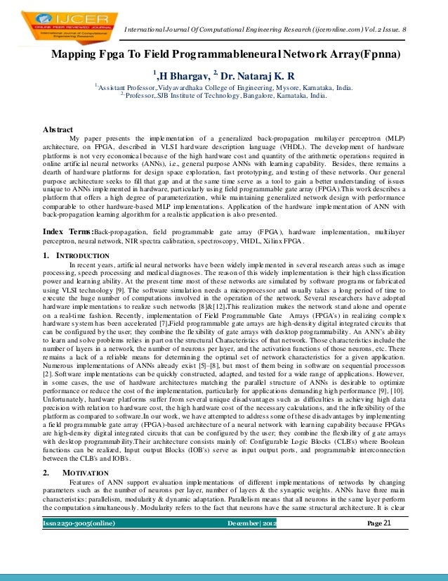 I nternational Journal Of Computational Engineering Research (ijceronline.com) Vol. 2 Issue. 8     Mapping Fpga To Field P...