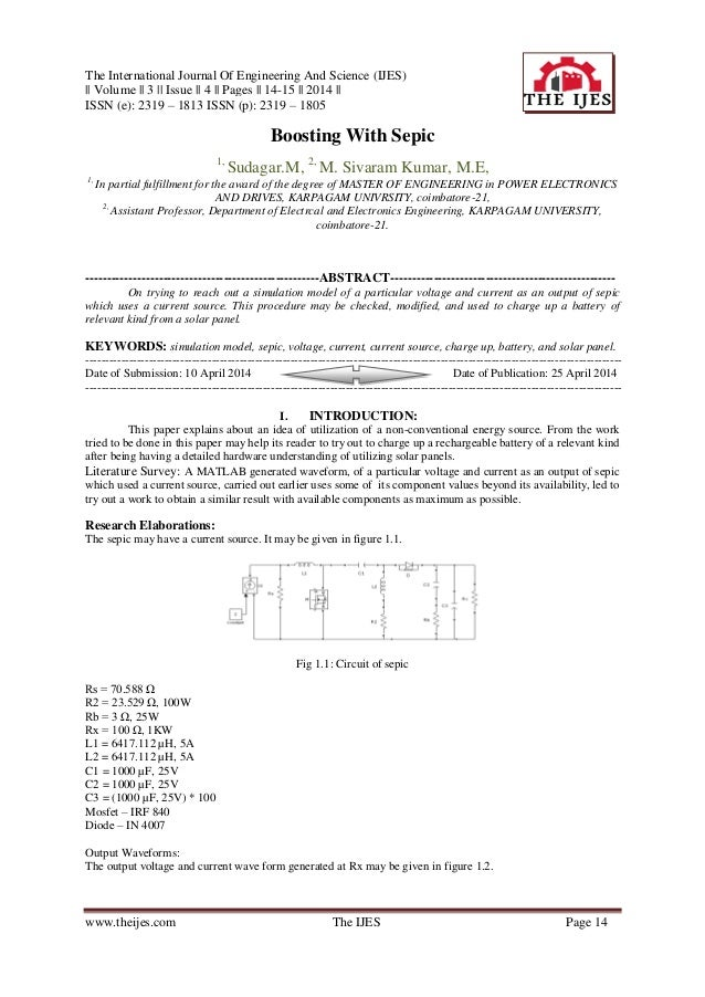 The International Journal Of Engineering And Science (IJES) || Volume || 3 || Issue || 4 || Pages || 14-15 || 2014 || ISSN...