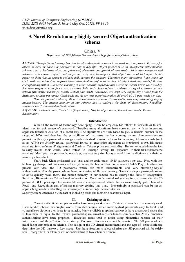 IOSR Journal of Computer Engineering (IOSRJCE) ISSN: 2278-0661 Volume 3, Issue 6 (Sep-Oct. 2012), PP 14-19 www.iosrjournal...