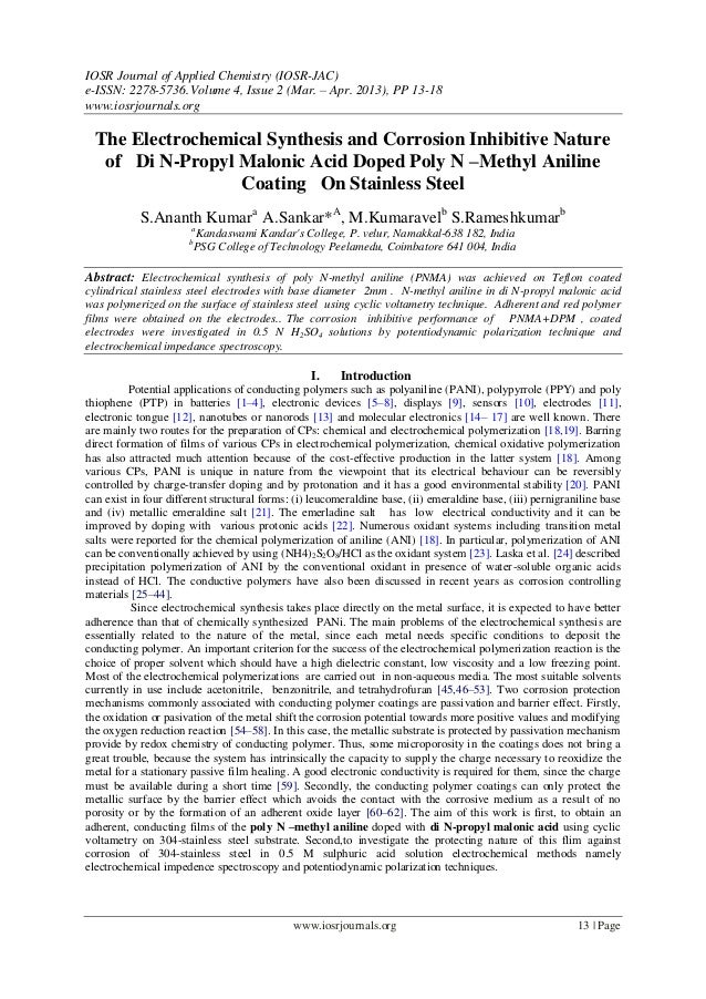 The Electrochemical Synthesis and Corrosion Inhibitive Nature of Di N-Propyl Malonic Acid Doped Poly N –Methyl Aniline Coating On Stainless Steel