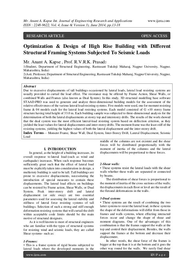 Mr. Anant A. Kapse Int. Journal of Engineering Research and Applications www.ijera.com ISSN : 2248-9622, Vol. 4, Issue 6( ...