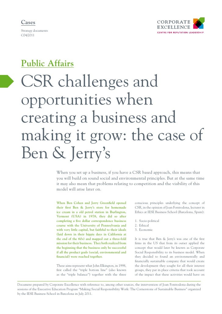 Ben & Jerry: CSR challenges and opportunities when creating a business and making it grow