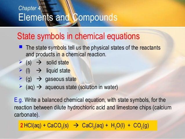 Symbols Elements Compounds Compounds State Symbols in