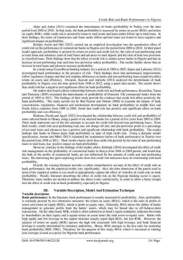 determinants of bank profitability in nigeria Determinants of bank profitability and basel capital regulation: empirical evidence from nigeria.