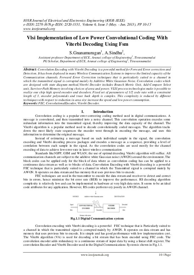 Vlsi Implementation of Low Power Convolutional Coding With Viterbi Decoding Using Fsm