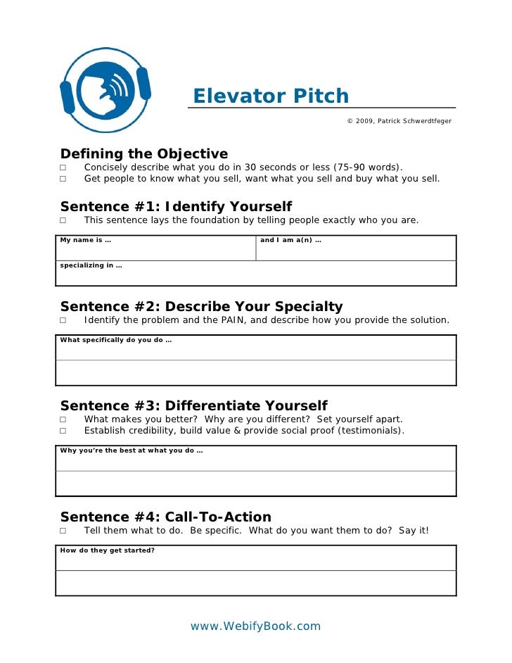 c06 business elevator pitch worksheet. Black Bedroom Furniture Sets. Home Design Ideas