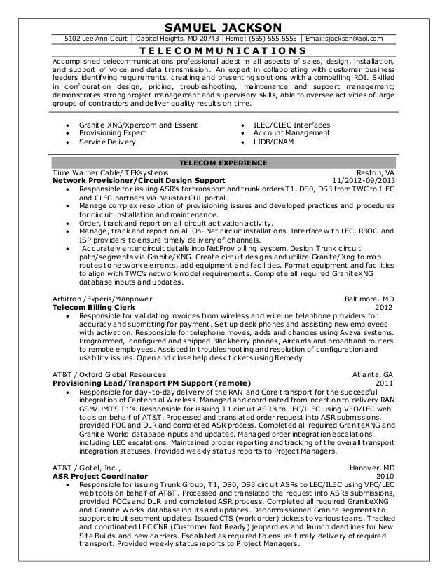 skills resumes telecommunications resume resume objective examples