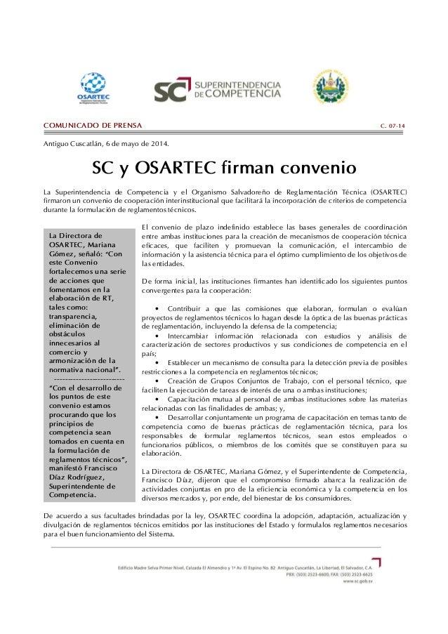 C.07-14 SC y OSARTEC firman convenio
