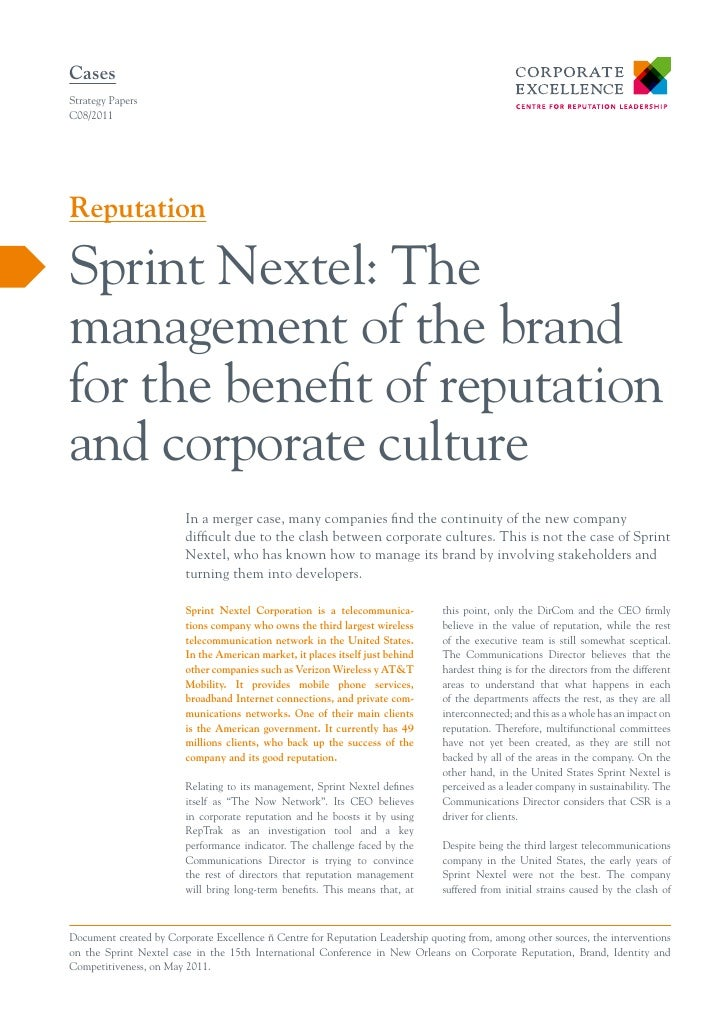 Sprint nextel the management of the brand for the benefit of reputation and corporate culture